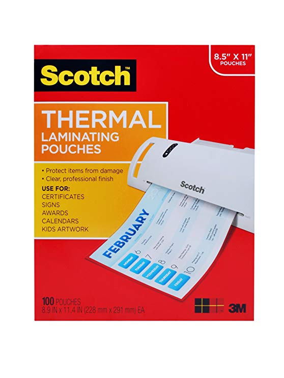 Scotch Thermal Laminating Pouches, 8.9 x 11.4 -Inches, 3 mils thick, 100-Pack (TP3854-100)