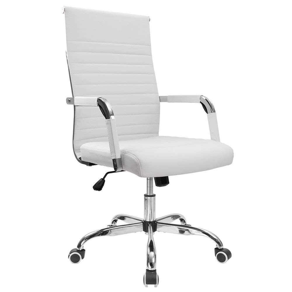 Furmax Ribbed Office Desk Chair Mid-Back Leather Executive Conference Task Chair Adjustable Swivel Chair with Arms (White)