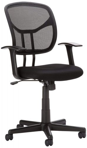AmazonBasics Classic Mid-Back Mesh Swivel Office Desk Chair with Armrest – Black - Conference Room Chairs