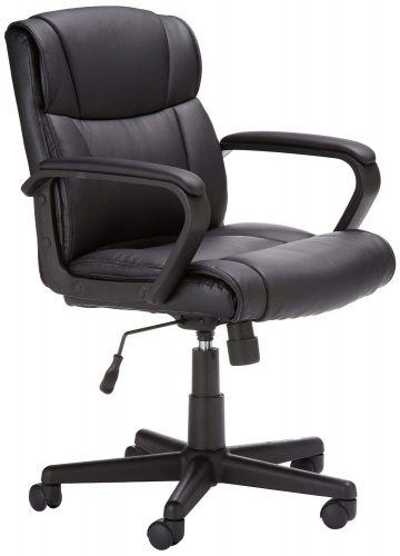 AmazonBasics Classic Leather-Padded Mid-Back Office Desk Chair with Armrest – Black - Conference Room Chairs