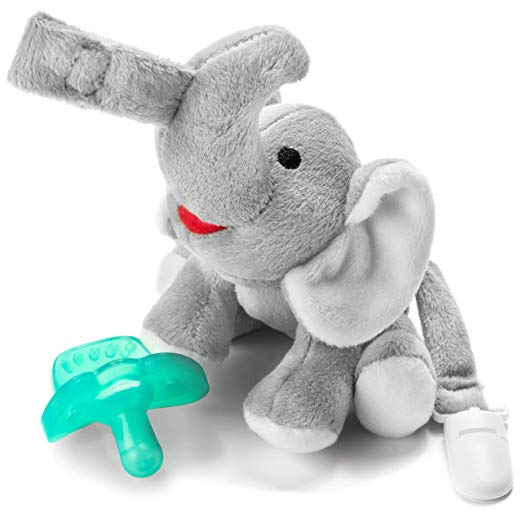 Bryco Baby Elephant Pacifier Holder - Includes Detachable Pacifier, Tail Clip, and Rattle - Soft Plush Stuffed Animal Toys for Infants - BPA-Free Silicone Pacifier is Easy to Clean and Dishwasher Safe - Pacifier for Breastfed Babies