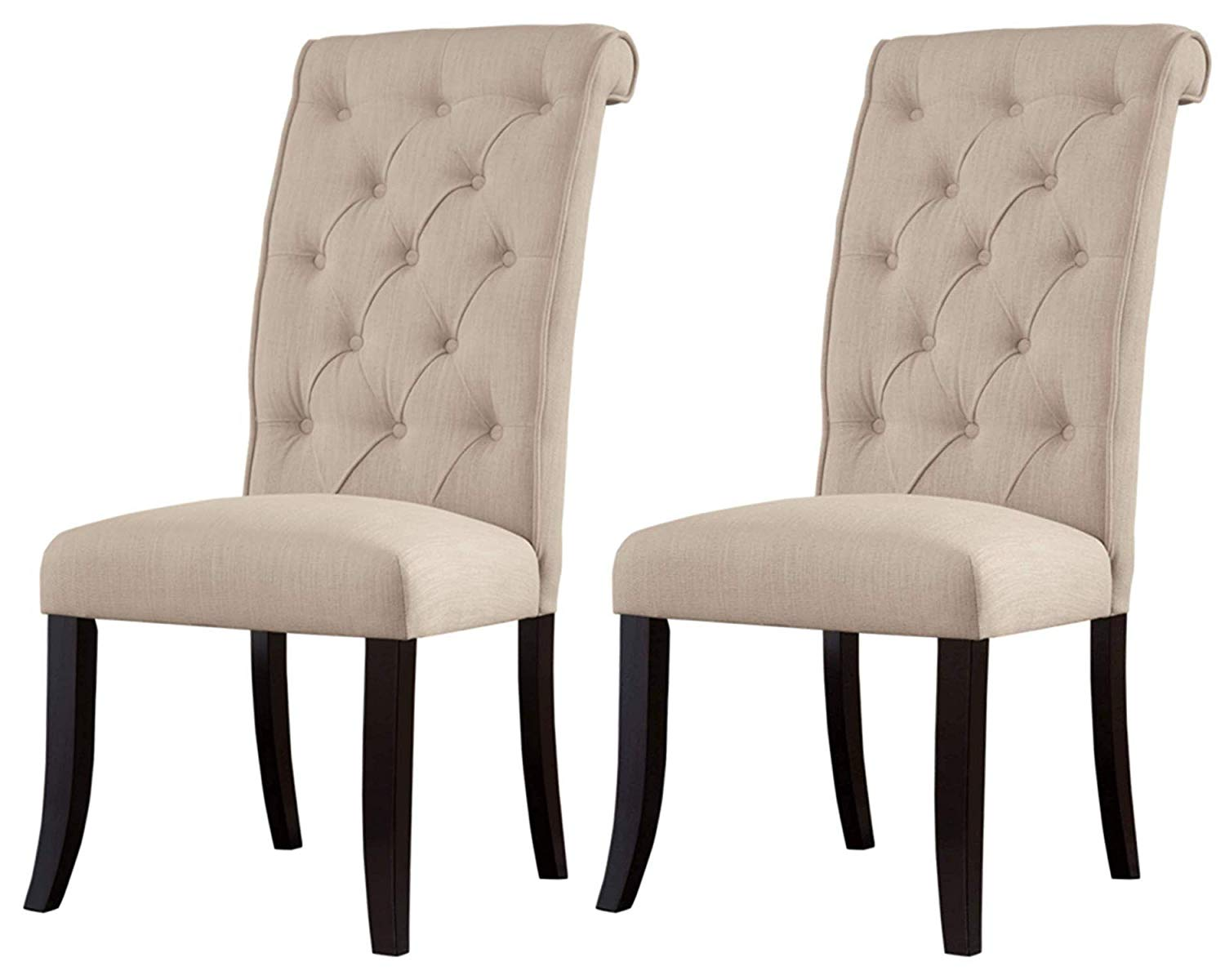 Ashley Furniture Signature Design - Tripton Dining Room Side Chair Set - Upholstered - Vintage Casual - Set of 2 – Linen