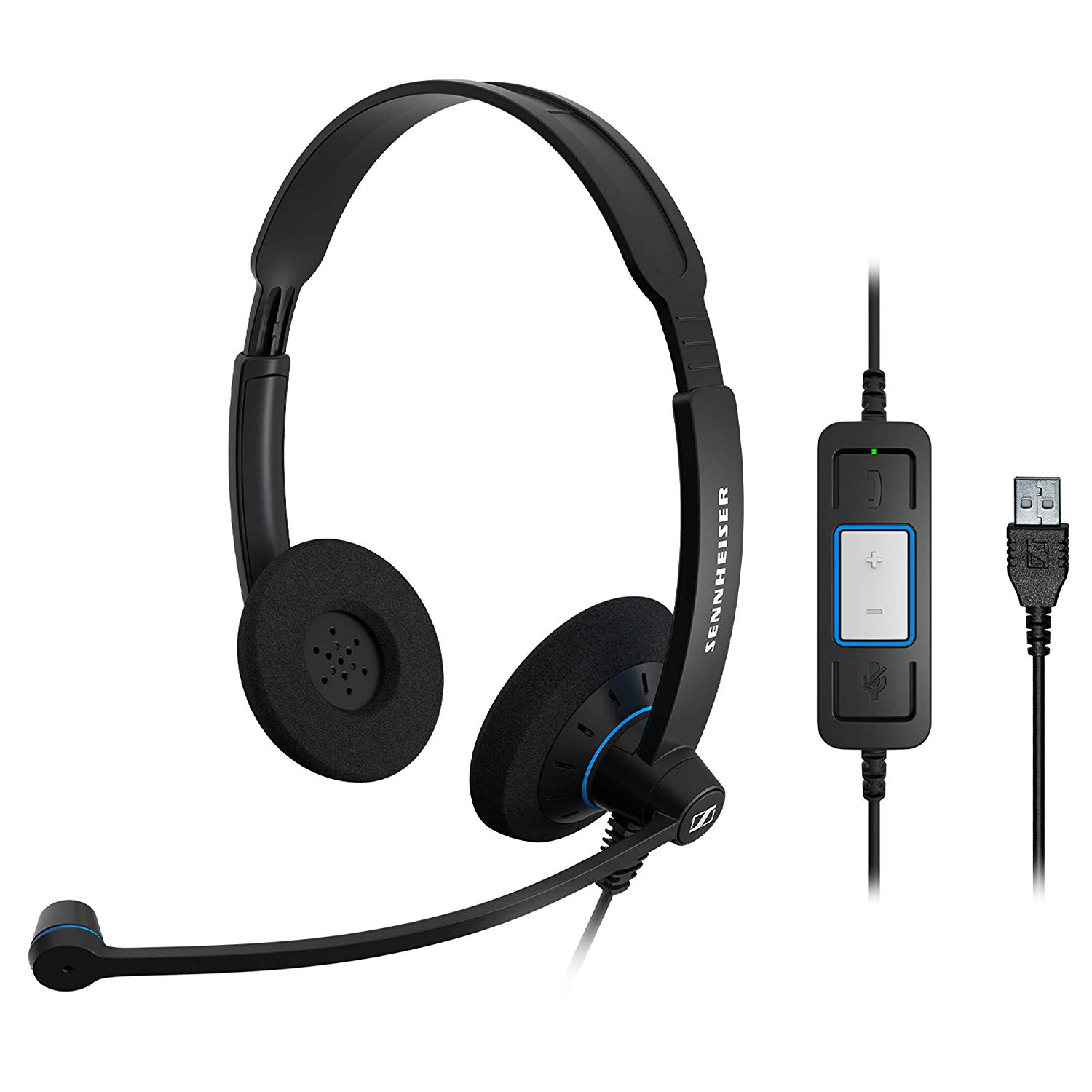 Sennheiser SC 60 USB CTRL (504549) - Double-Sided Business Headset | For Unified Communications | with HD Sound, Noise-Cancelling Microphone, & USB Connector (Black)