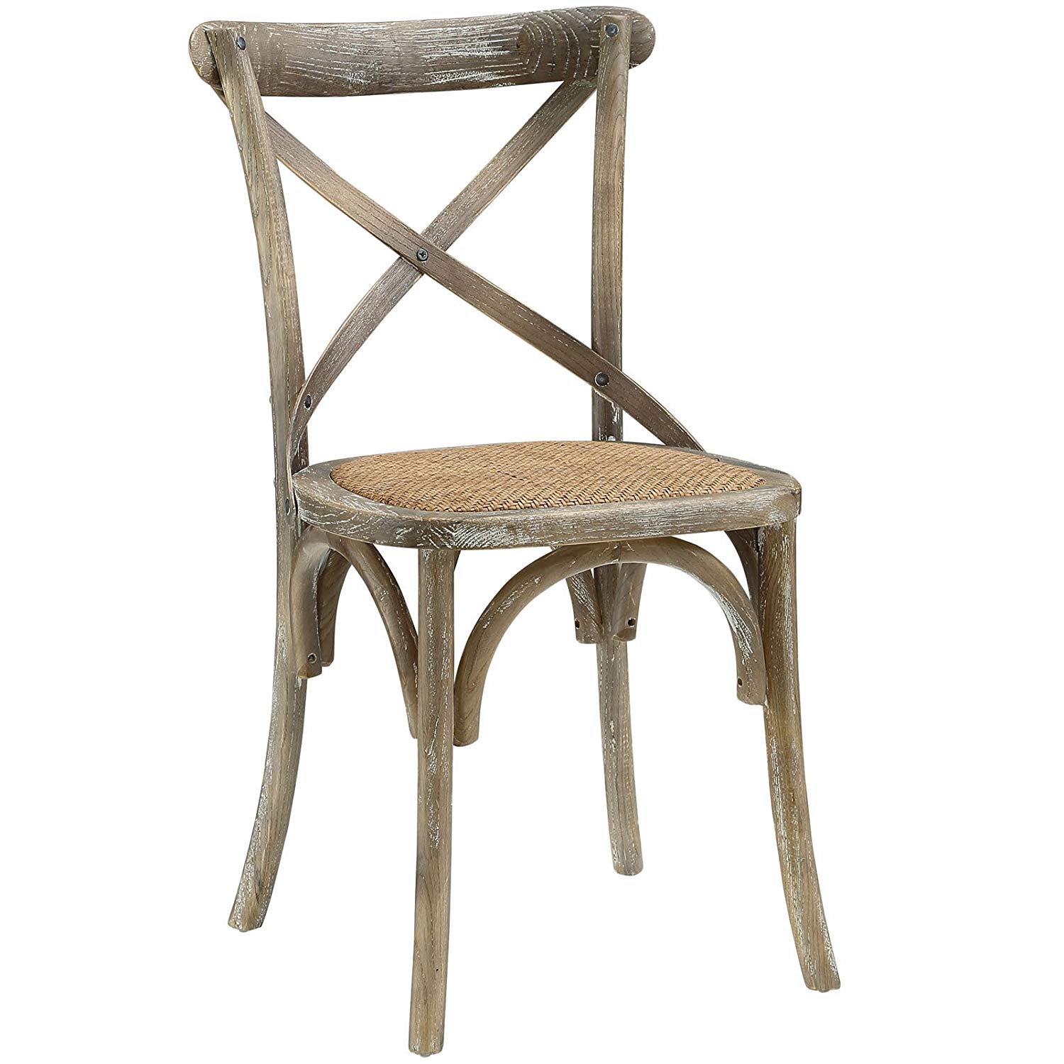 Modway Gear Modern Farmhouse Cross Back Solid Elm Wood DiningSide Chair With Rattan Seat In Gray