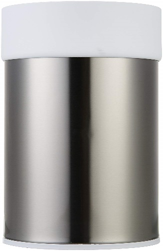 Trash Bin: AmazonBasics Stainless Steel Trash Waste Can with Lid, White