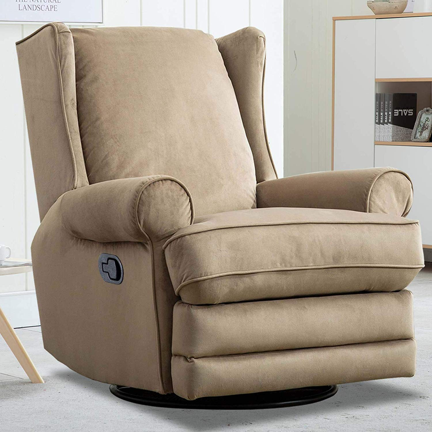 CANMOV Fabric Swivel Rocker Recliner Chair with Roll Arm and Overstuffed Back, Beige