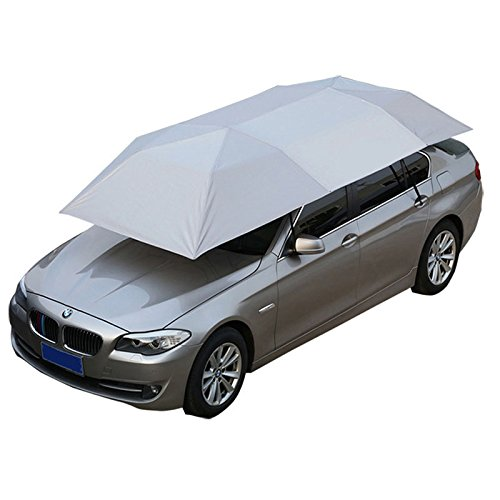 Reliancer Car Tent Semi-automatic Hot Summer Car Umbrella Cover Portable Movable Carport Folded Automobile Protection Sun Shade Anti-UV Canopy Sunproof Shelters SUV (Manual Silver)