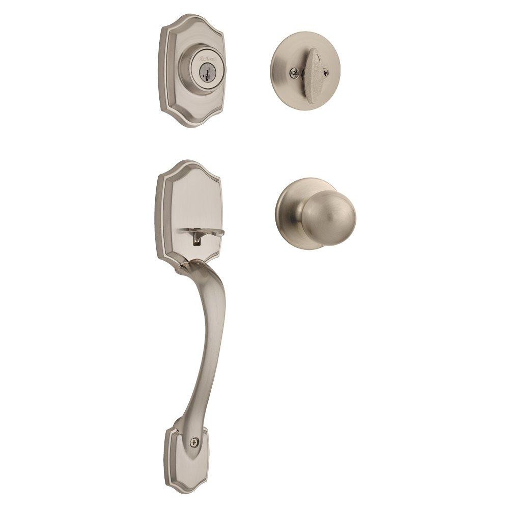 Kwikset 96870-099 Belleview Single Cylinder Front Door Handle set with Polo Door Knob Featuring SmartKey Security in Satin Nickel