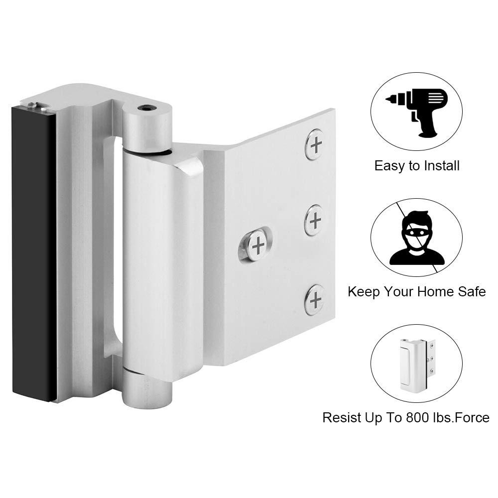 """Home Security Door Lock with 8 Screws, Childproof Door Reinforcement Lock with 3"""" Stop Withstand 800 lbs for Inward Swinging Door, Upgrade Night Lock to Defend Your Home"""
