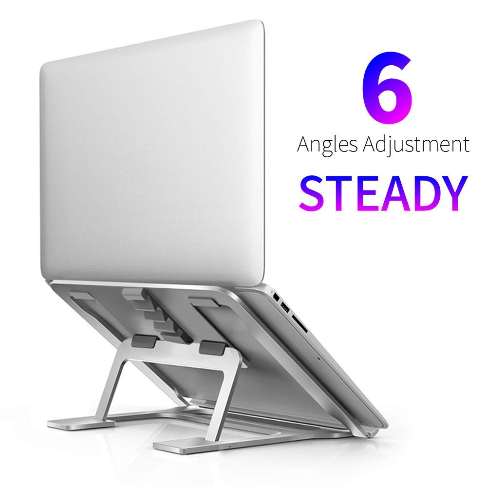"Portable Laptop Stand, Foldable Adjustable Laptop Stand for Desk, Aluminum Ventilated Stand Anti-Slip Silicone Pad, Laptop Riser Ergonomic Portable Holder for 11""-15.6"" MacBook/Dell/HP/Lenovo (Slive"
