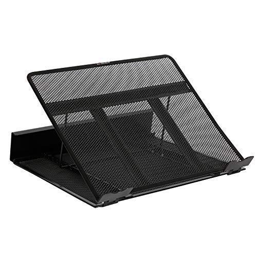 DESIGNA Mesh Metal Ventilated Adjustable Laptop Stand for Desk Notebook Tablet Black