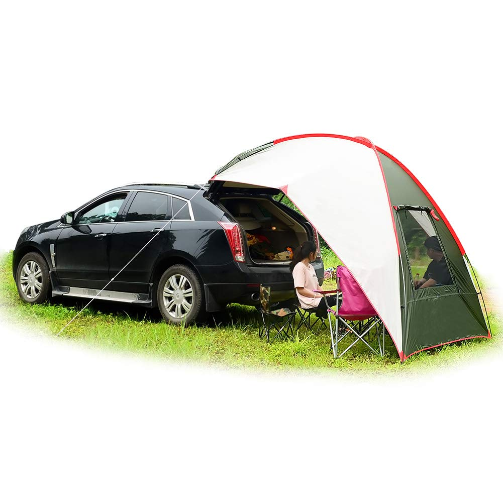 Car Tail Tent Awning Sun Shelter Trailer Tent Carport Tent Portable Tent Waterproof Auto Canopy Camper Trailer Tent Outdoor Equipment Camping-car Tent for Beach, SUV, MPV, Hatchback, Minivan, Sedan,