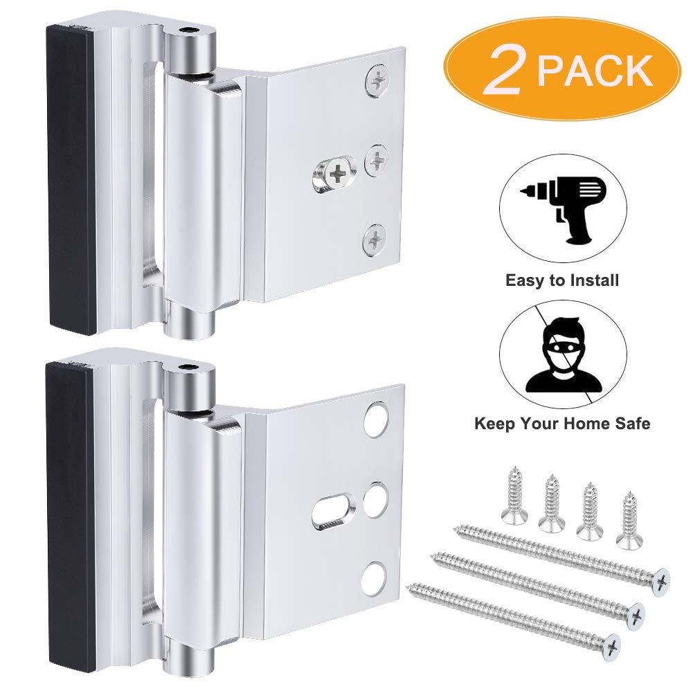 2 Pack Home Security Door Lock, Front Door Locks for Kids, Home Reinforcement Lock for Swing-in Doors, Upgrade Night Lock Thicken Solid Aluminium Alloy Satin Nickel (Silver)