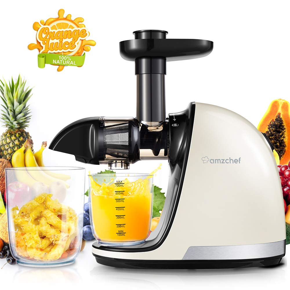 Slow Juicer, AMZCHEF Slow Masticating Juicer Extractor Professional Machine with Quiet Motor/Reverse Function,Cold Press Juicer with Brush,for High Nutrient Fruit & Vegetable Juice