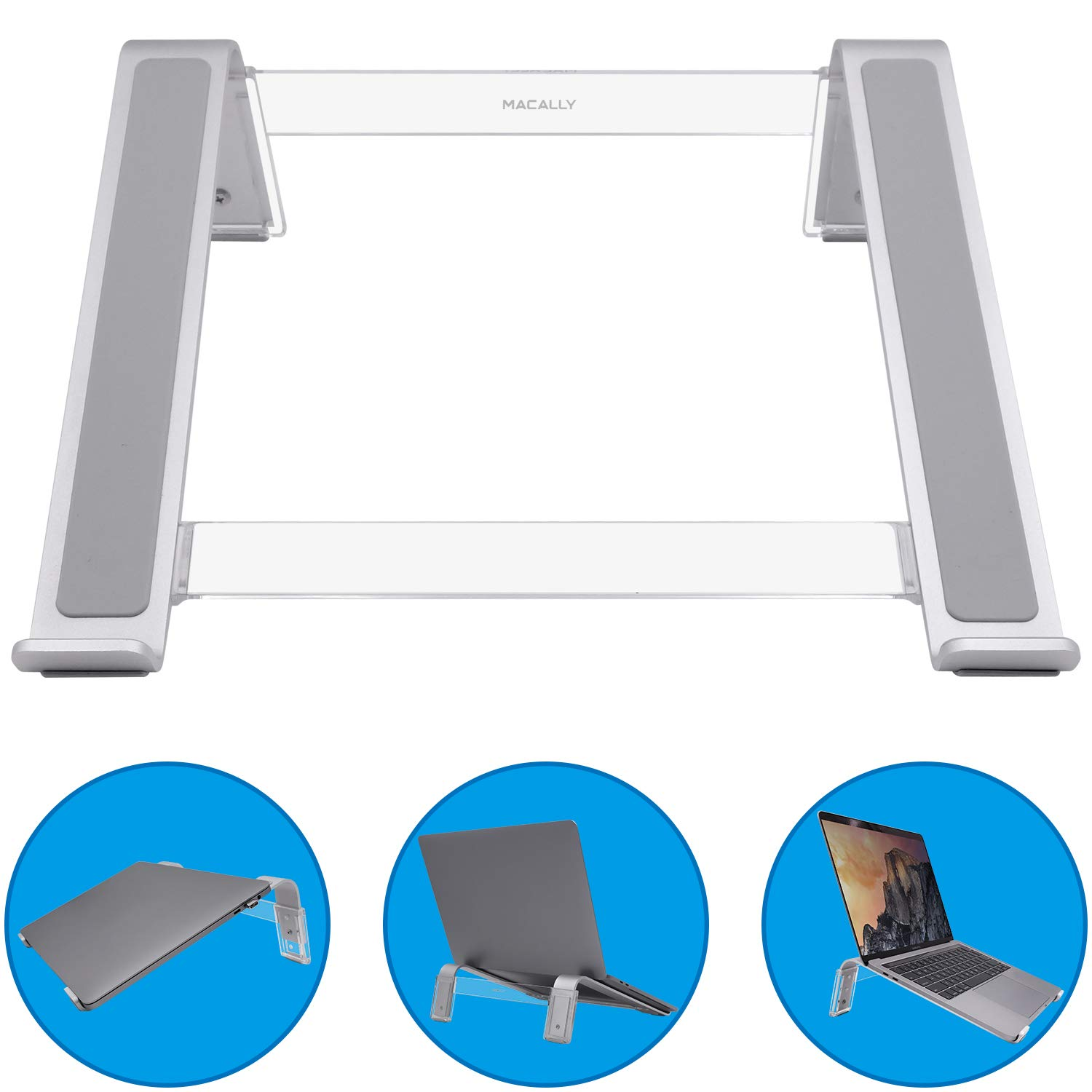"Macally Adjustable Laptop Stand for Desk - Ventilated Notebook Riser w/ 3 Angle Adjustments for Apple MacBook Pro/Air, Samsung Chromebook, Acer Switch, HP Pavillion, Dell XPS, Up to 17.3""- Aluminum"