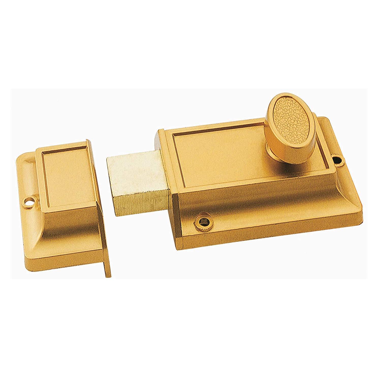 SUMBIN Night Latch Deadbolt Rim Lock, Antique Locks with Keys for Front Door, Gold Finish