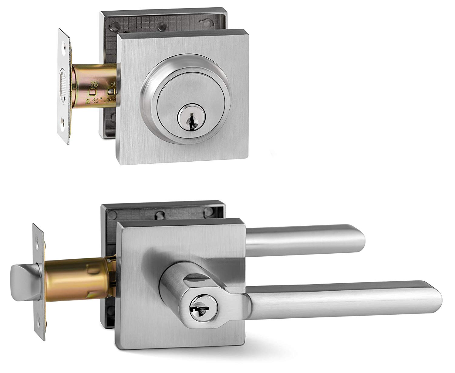 Berlin Modisch Entry Lever Door Handle and Single Cylinder Deadbolt Lock and Key Slim Square Locking Lever Handle Set [Front Door or Office] Right & Left Sided Doors Heavy Duty – Satin Nickel Finish