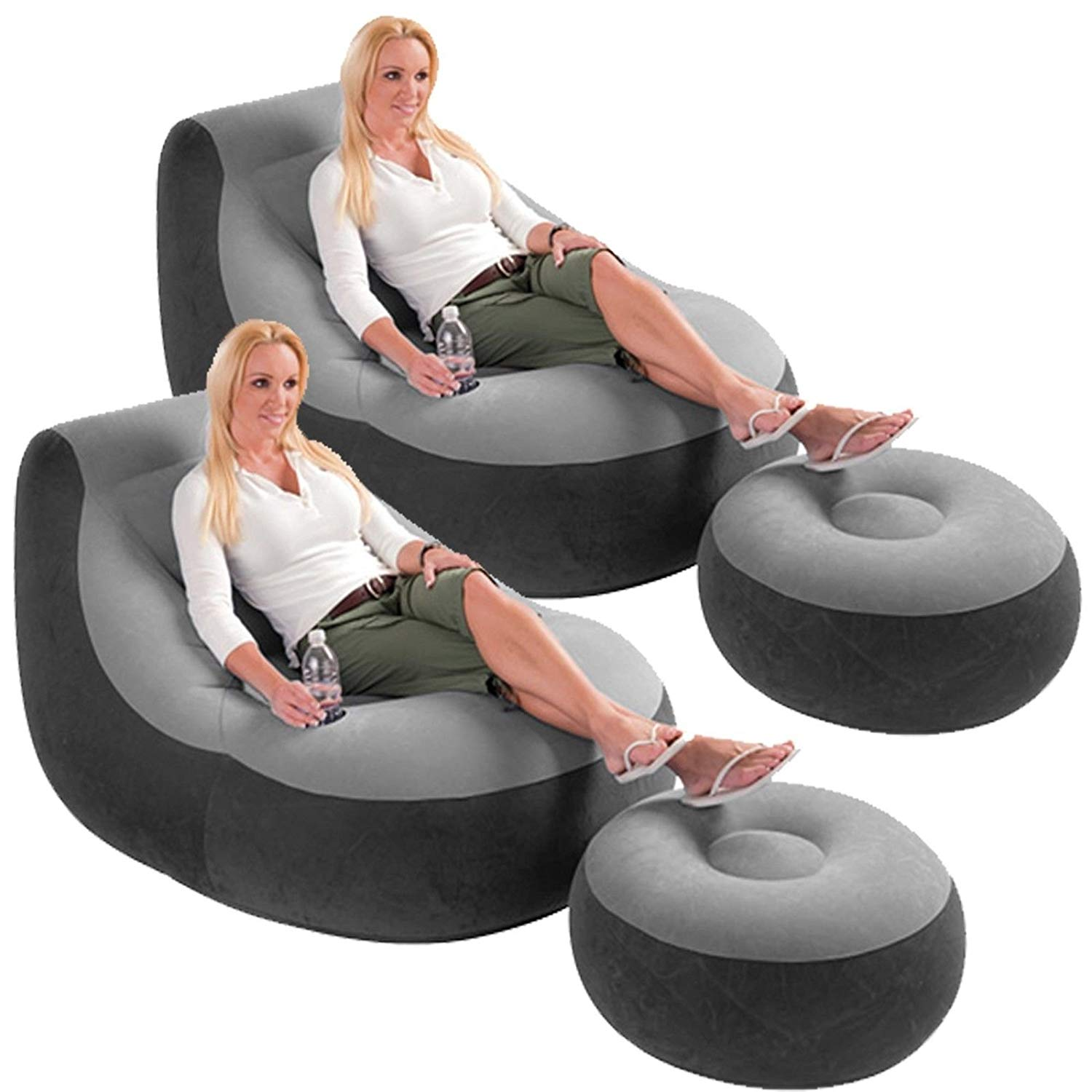 2 Pack Intex Ultra Lounge Inflatable Chair w/ Ottoman Sofa Dorm Gaming Chair