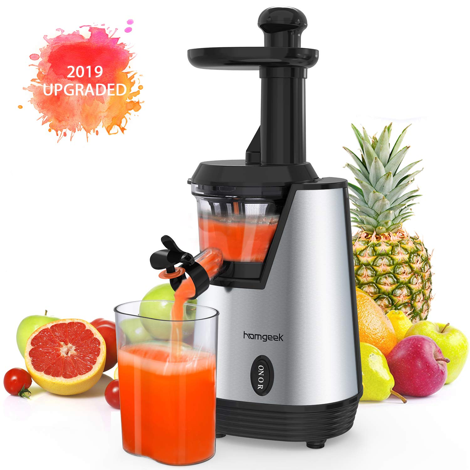 Homgeek Juicer Slow Masticating Juicer Extractor, Cold Press Juicer Machine, Quiet Motor and Reverse Function, with Juice Jug and Brush to Clean Conveniently, High Nutrient Fruit and Vegetable Juice