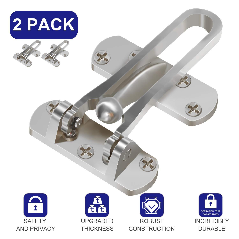 Pakesi Home Security Door Lock, 2 Pack Front Door Locks for Kids, Home Reinforcement Lock for Swing-in Doors, Thicken Solid Aluminium Alloy, Satin Nickel