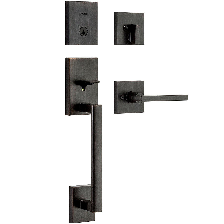 Kwikset 98180-001 San Clemente Single Cylinder Low Profile Handleset Front Door Lock with Halifax Lever featuring SmartKey Security in Venetian Bronze,