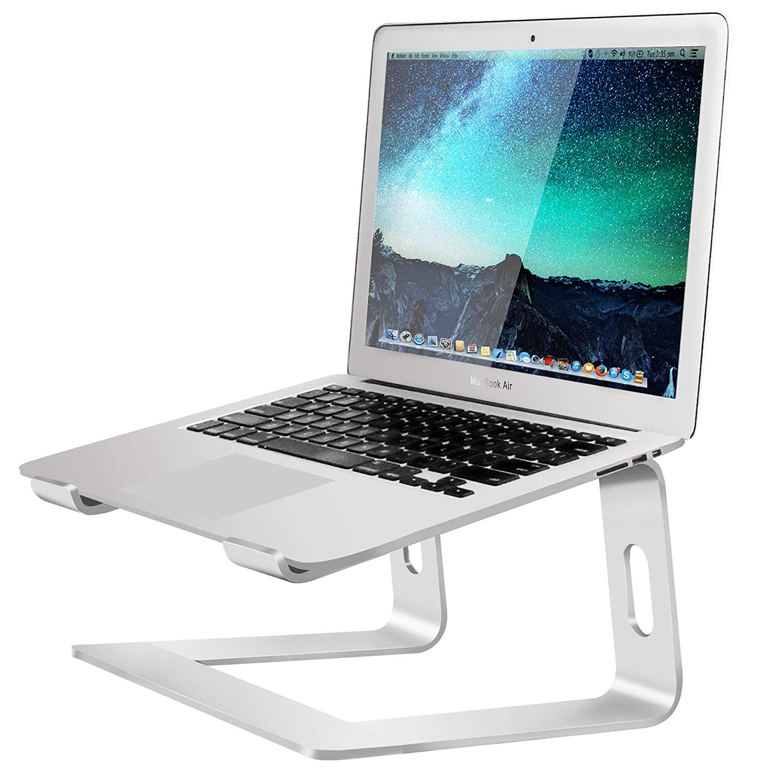Soundance Aluminum Laptop Stand for Desk Compatible with Mac MacBook Pro Air Apple Notebook, Portable Holder Ergonomic Elevator Metal Riser for 10 to 15.6 inch PC Desktop Computer, LS1 Silver