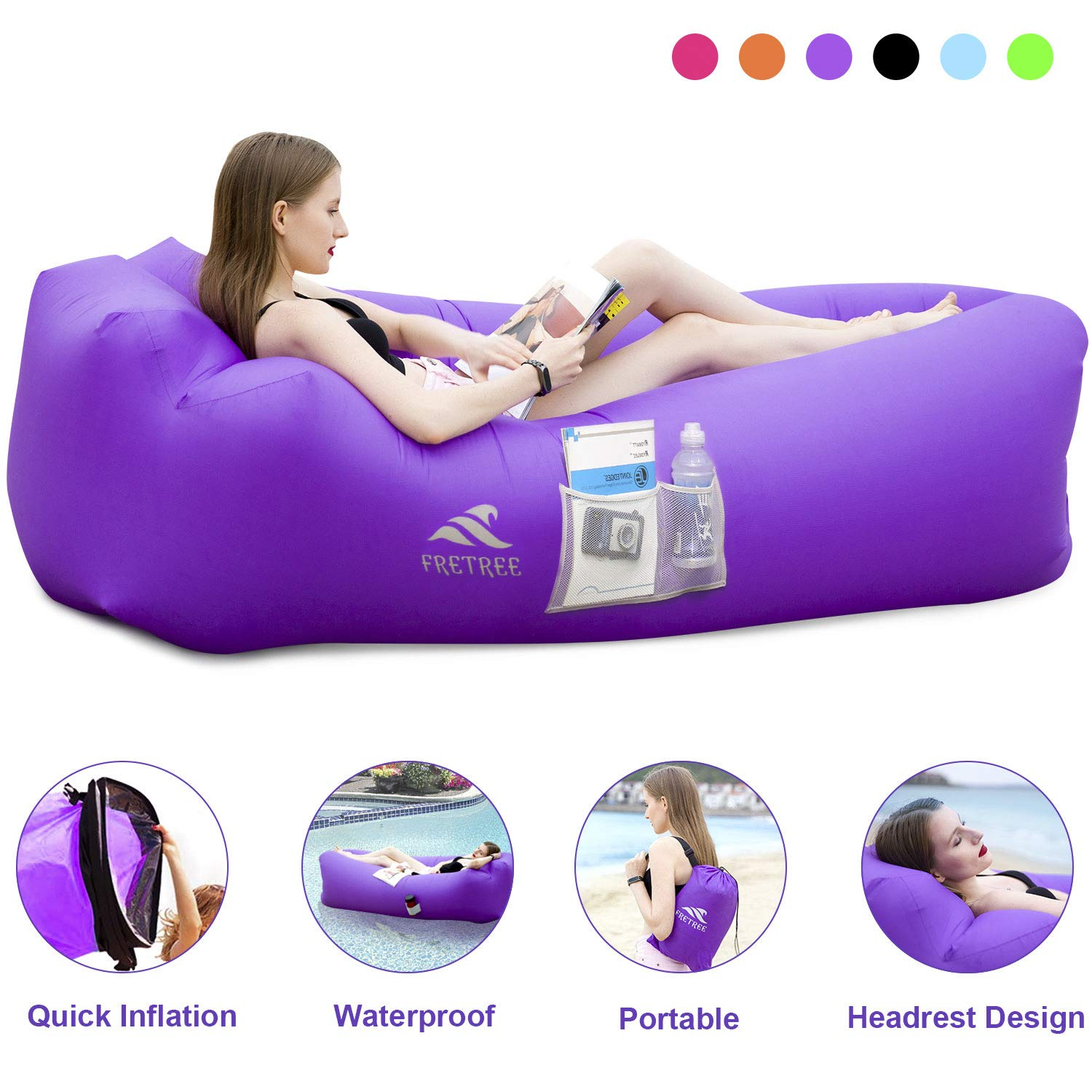 FRETREE Inflatable Lounger Air Sofa Hammock