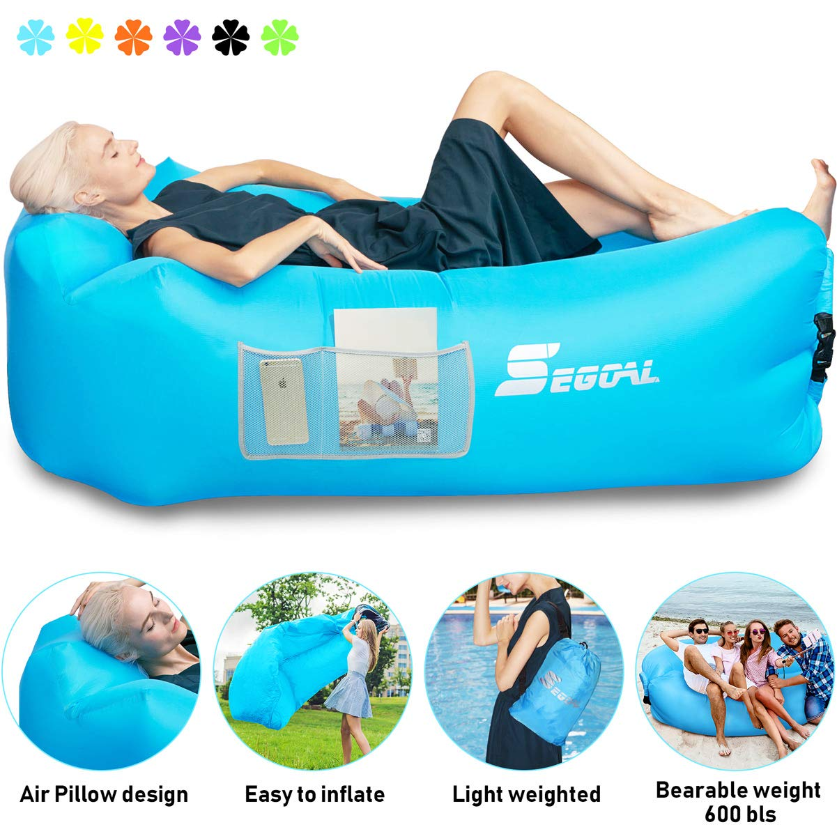 SEGOAL Inflatable Lounger Air Sofa Pouch Inflatable Couch Air Chair