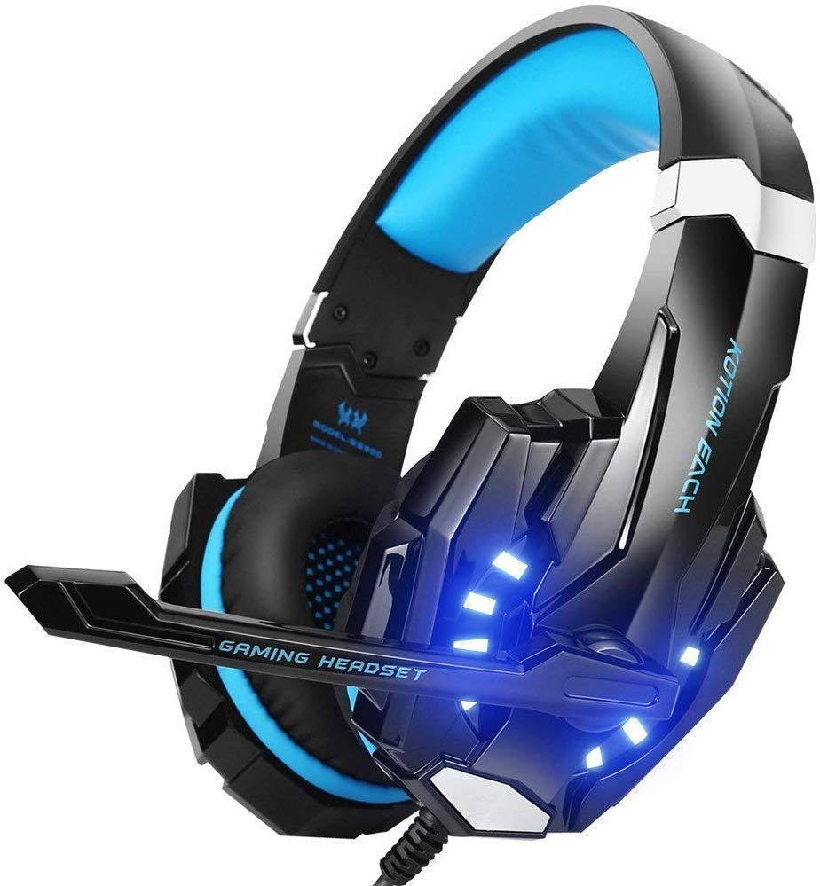 BENGOO G9000 Stereo Gaming Headset for PS4, PC, Xbox One Controller, Noise Cancelling Over Ear Headphones with Mic, LED Light, Bass Surround, Soft Memory...