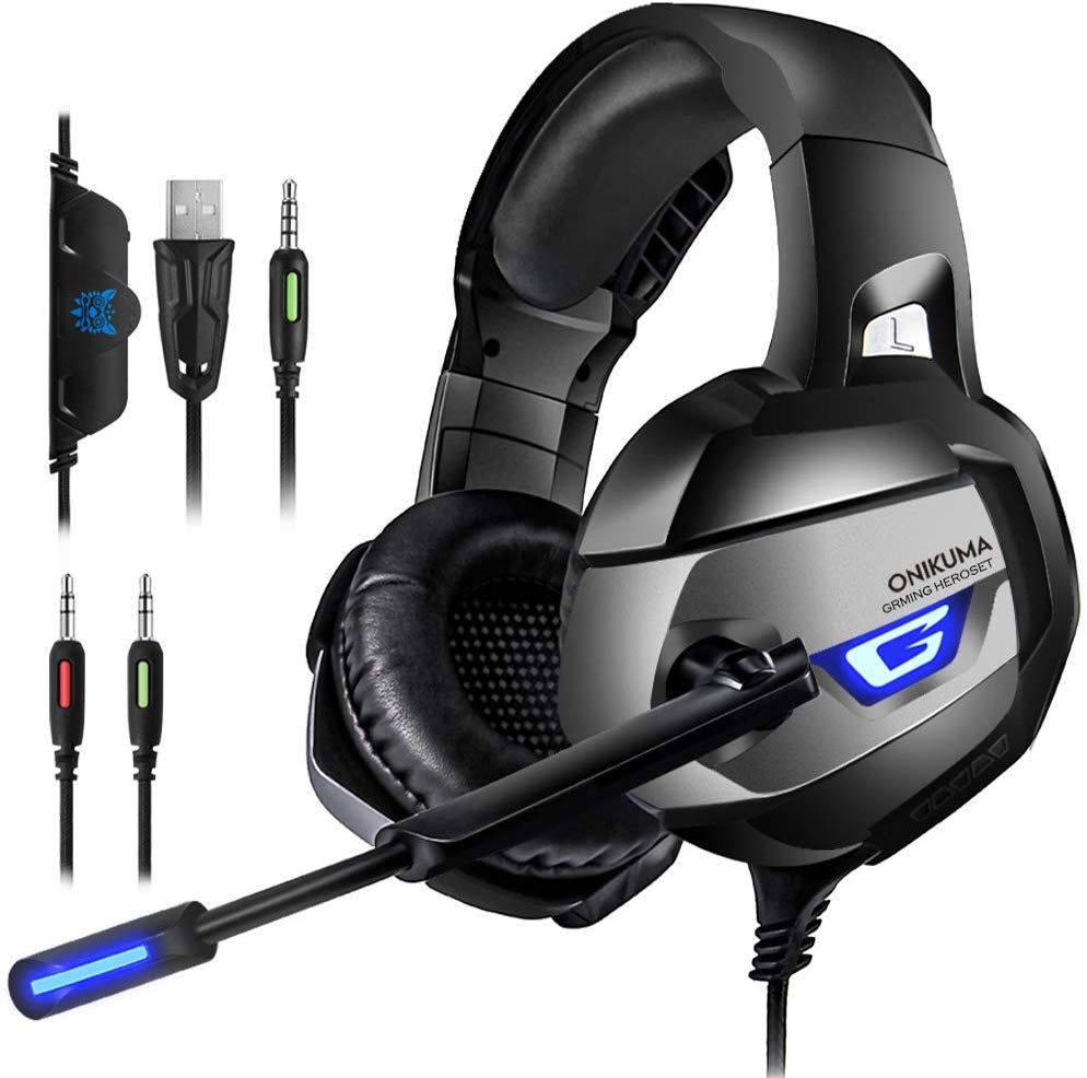 PS4 Gaming Headset - ONIKUMA Gaming Headset with 7.1 Surround Sound, Xbox One Headset with Noise Canceling Mic LED Light, Over-Ear Headphones for PS4, Xbox...