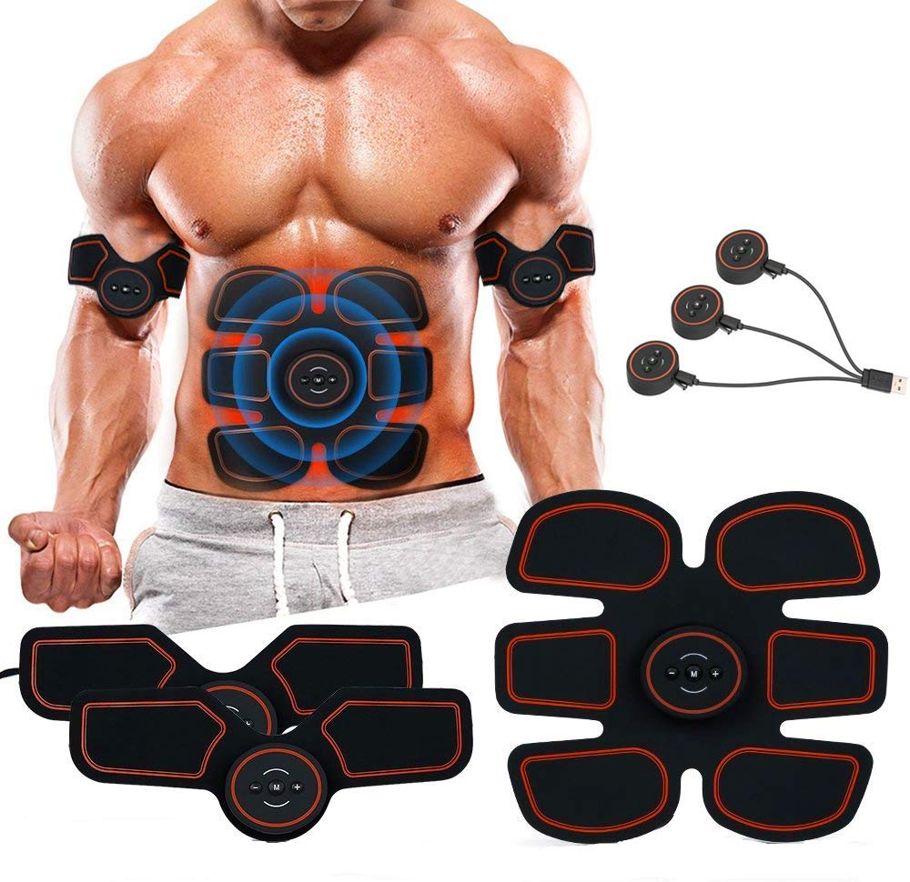 UNOSEKS Abs Stimulator Muscle Toner, Abdominal Toning Belt, USB Charging Portable AB Machine, EMS Training Home Office Fitness Equipment for Abdomen/Arm/Leg...