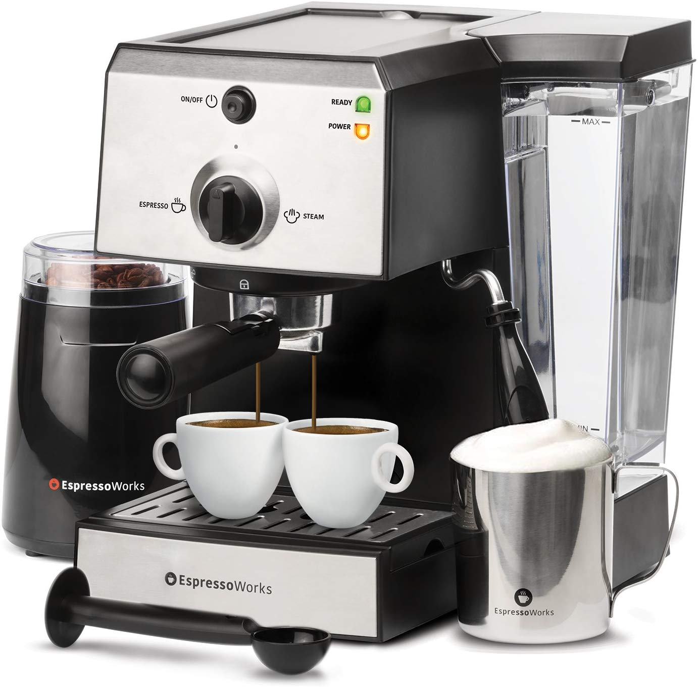 7 Pc All-In-One Espresso Machine & Cappuccino Maker Barista Bundle Set w/ Built-In Steamer & Frother (Inc: Coffee Bean Grinder, Portafilter, Milk...