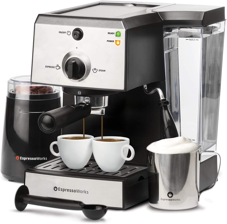 7 Pc All-In-One Espresso Machine & Cappuccino Maker Barista Bundle Set w/ Built-In Steamer & Frother (Inc: Coffee Bean Grinder, Portafilter, Milk...
