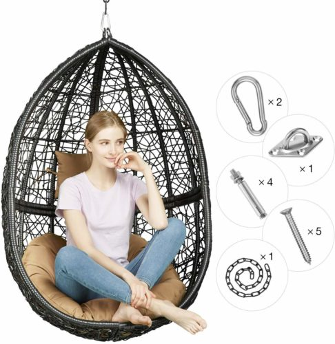 Greenstell Rattan Wicker Egg Hammock Chair with Hanging Kits,Weather Fastness Hanging Chair with Comfortable Brown Cushion and Pillow,Basket Swing Chair for...