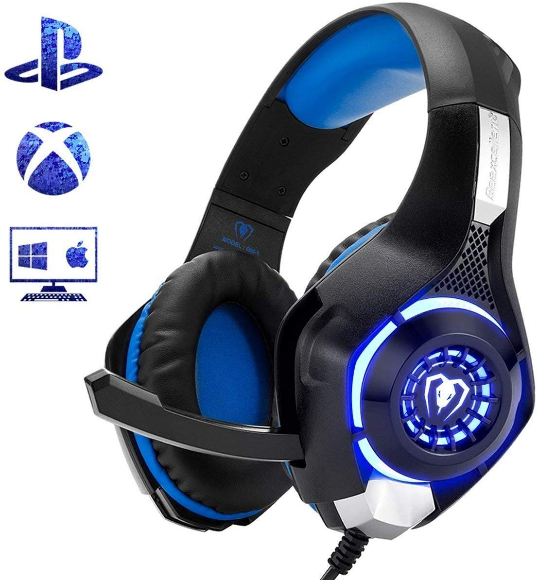 Beexcellent Gaming Headset for PS4 Xbox One PC Mac Controller Gaming Headphone with Crystal Stereo Bass Surround Sound, LED Light & Noise-Isolation...