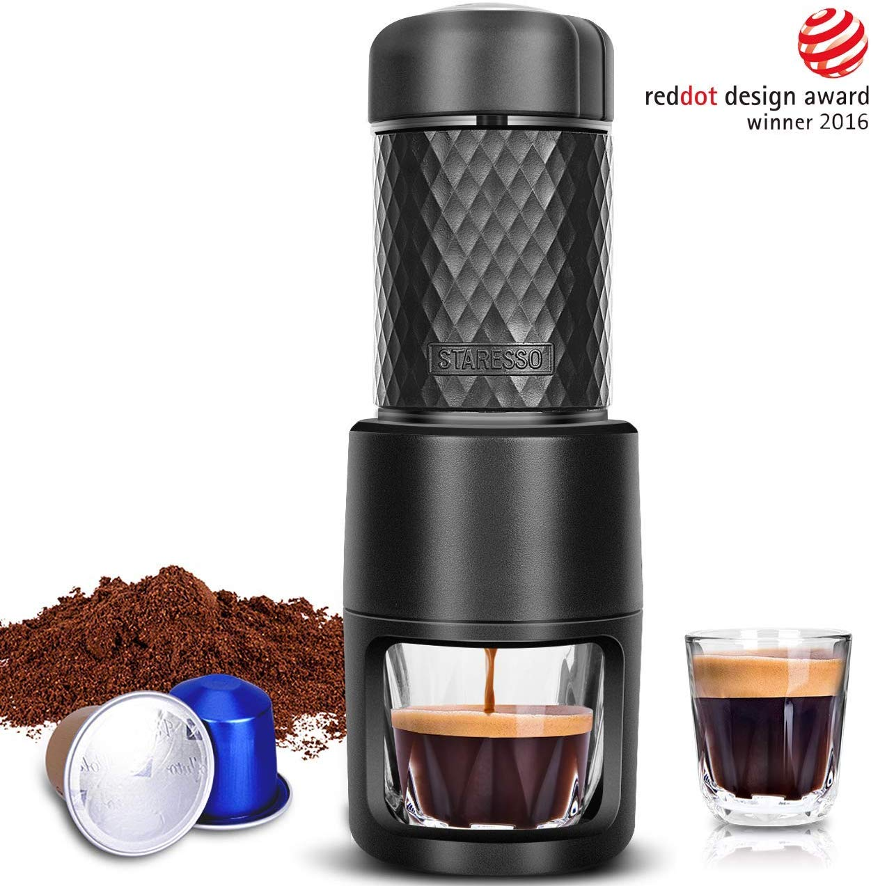STARESSO Portable Espresso Machine - Manual Espresso for Rich & Thick Crema Mini Espresso Maker Compatible with Nespresso Pods & Ground Coffee Small...