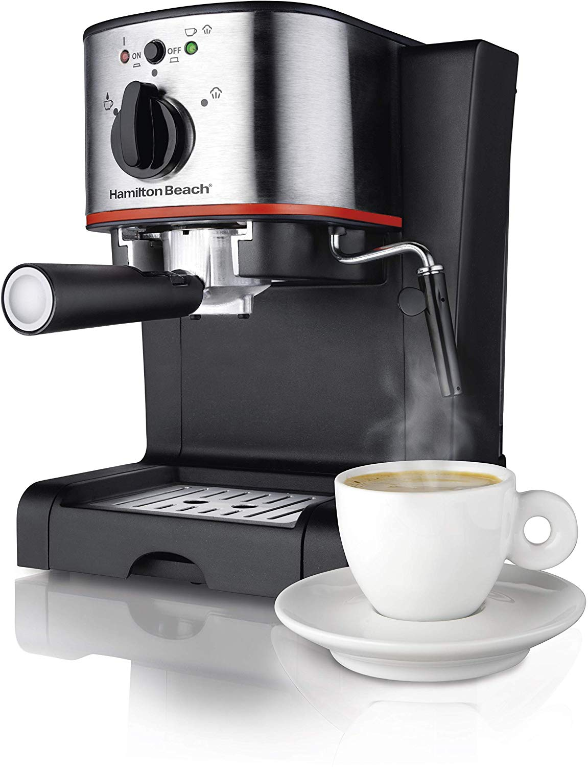Hamilton Beach Espresso, Latte and Cappuccino Machine with Milk Frother, 15 Bar Italian Pump, Black and Stainless (40792),