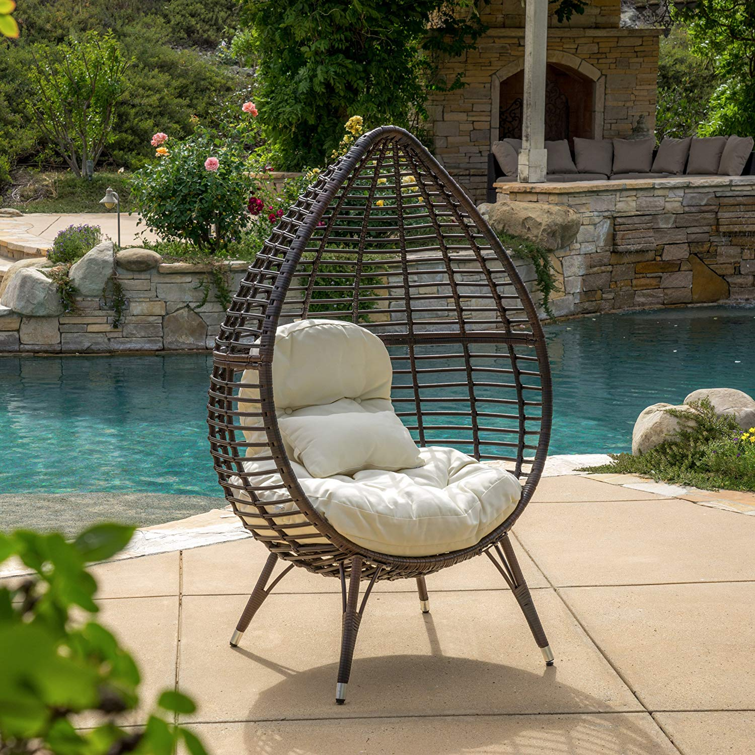 Christopher Knight Home 295805 Dermot Multibrown Wicker Lounge Teardrop Chair w/Cushion, Brown