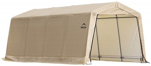 ShelterLogic 10' x 20' x 8' All-Steel Metal Frame Peak Style Roof Instant Garage and AutoShelter with Waterproof and UV-Treated Ripstop Cover - Car Shelters and Canopy