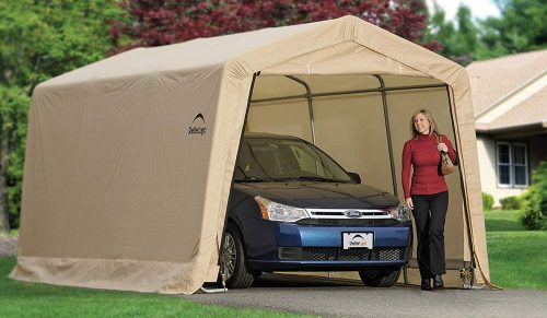 ShelterLogic 10' x 15' x 8' All-Steel Metal Frame Peak Style Roof Instant Garage and AutoShelter with Waterproof and UV-Treated Ripstop Cover - Car Shelters and Canopy