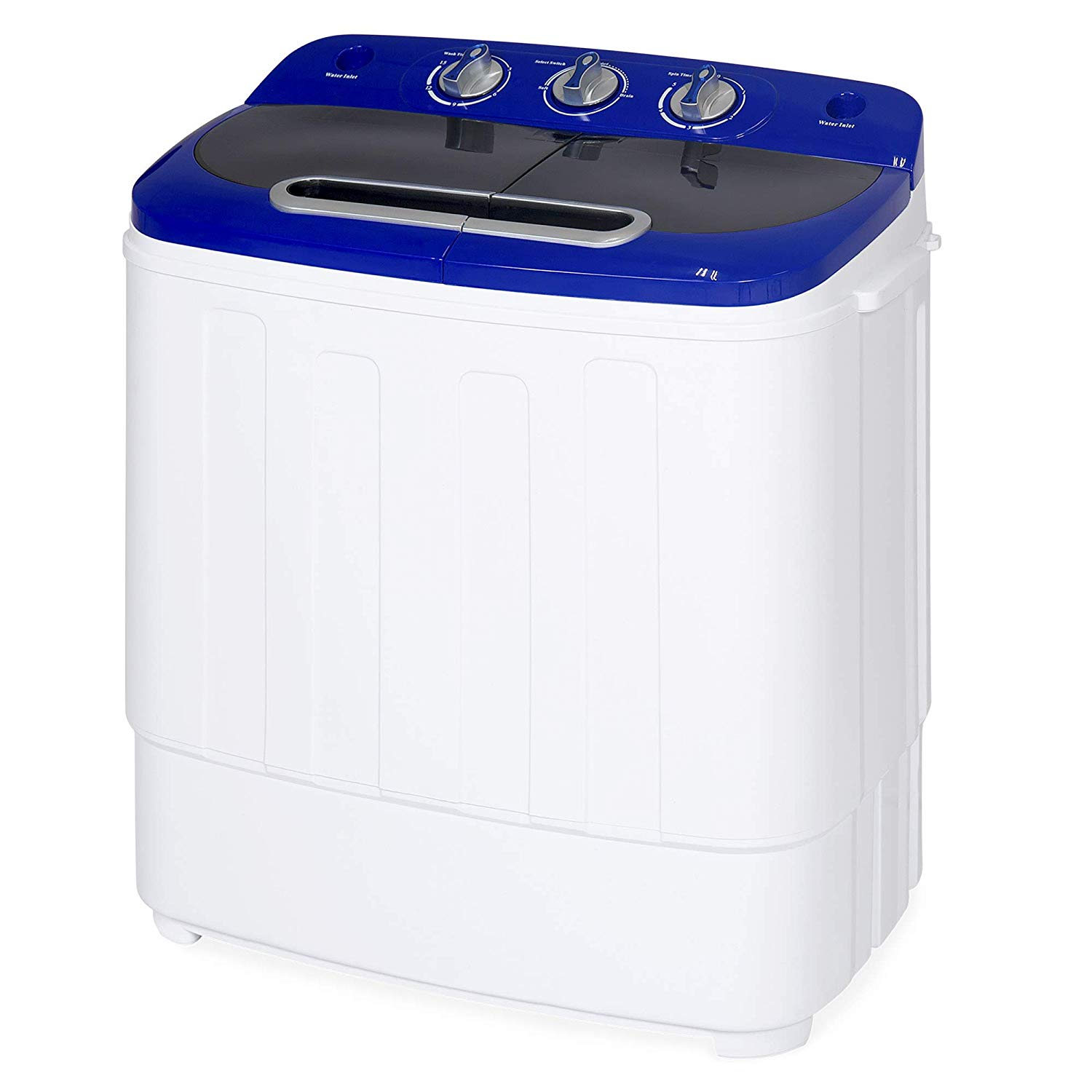 Best Choice Products Portable Compact Twin Tub Laundry Machine & Spin Cycle w/Hose, 13lbs Capacity - White/Blue