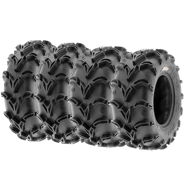 Set of 4 SunF A050 26x9-12 Front & 26x11-12 Rear Deep Mud + Trail ATV UTV Off-Road Tires, 6PR, Tubeless