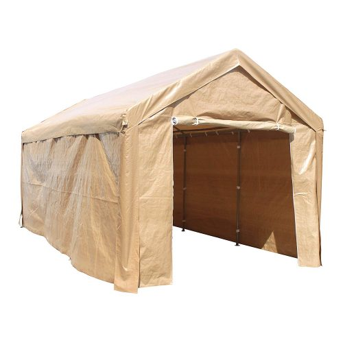 ALEKO CP1020BE Outdoor Event Carport Garage Canopy Tent Shelter Storage with Sidewalls 10 x 20 x 8.5 Feet Beige - Car Shelters and Canopy