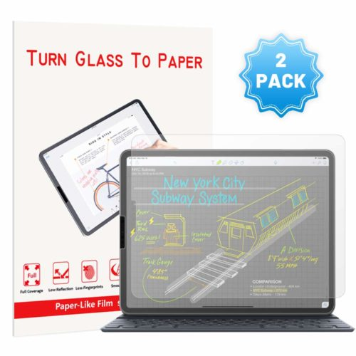 [2 Pack] PaperLike iPad Pro 12.9 Screen Protector (2018),iPad pro 12.9 PaperLike PET Film for Drawing Anti-Glare and Paper Texture iPad Pro 12.9 Screen Protector with Easy Installation Kit