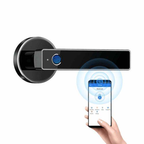 Biometric Fingerprint Door Lock,Security Simplified Door Lever WiFi Bluetooth APP Access Smart Digital Fingerprint Door Handle Lock by Tiffane