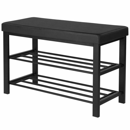 SONGMICS Shoe Bench, 3-Tier Shoe Rack for Entryway, Storage Organizer with Foam Padded Seat, Faux Leather, Metal Frame, for Living Room, Hallway, 31.9 x 12.6 x 19.3 Inches, Black ULBS58H
