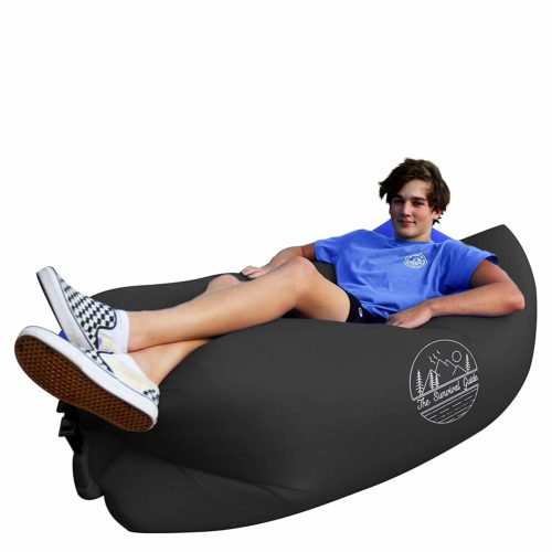 The Survival Guide Inflatable Air Sofa | Portable Lounger Couch for Indoor & Outdoor Use Camping, Beach & Festival | Easy to Inflate Hammock Couches with Carry-on Bag | Pillow-Shaped Headrest Design