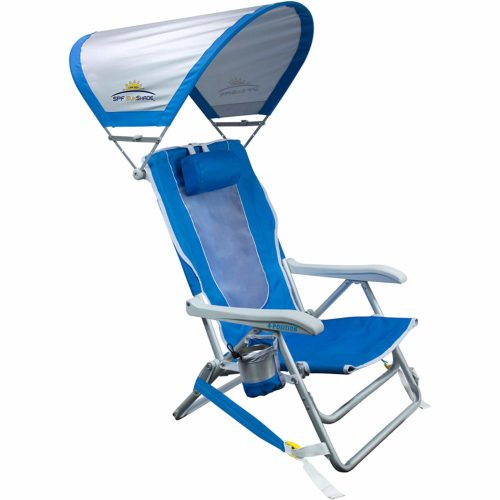 GCI Outdoor Waterside Reclining Portable Backpack Beach Chair with Sunshade