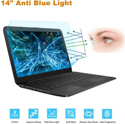 "2-Pack 14 Inch Screen Protector -Blue Light and Anti Glare Filter, FORITO Eye Protection Blue Light Blocking & Anti Glare Screen Protector for 14"" with 16:9 Aspect Ratio Laptop"