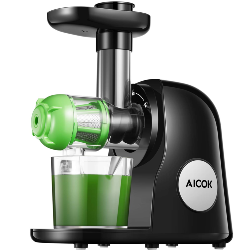 Juicer Machines, Aicok Slow Masticating Juicer Extractor Easy to Clean, Quiet Motor & Reverse Function, BPA-Free, Cold Press Juicer with Brush, Juice Recipes for Vegetables and Fruit